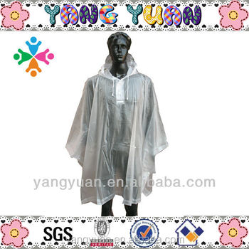 100% transparent long pvc raincoat