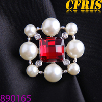 2015 New wholesale crystal joint pearl lapel pin