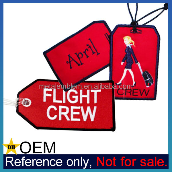 Manufacturer Custom Logo Embroidered Flight Crew Luggage Tag