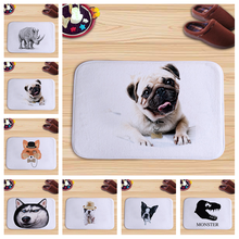 PEIYUAN Cute Pets Animal Pug Dog Fox Rhinoceros Colorful Flannel Doormat Floor Mat Carpets