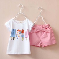 Tat15155Korean new girls summer suits ice cream printed baby kids clothing suits