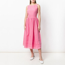 2018 New Style Fashion 100% Cotton Sleeveless Pink Casual Sexy Midi Dress