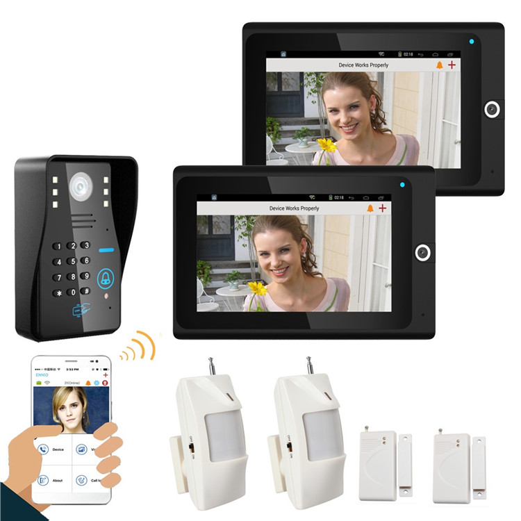 Latest WIFI wireless smart Video Door Bell doorbell camera with two monitor