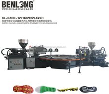 Pvc two color rotary sole shoe making machine