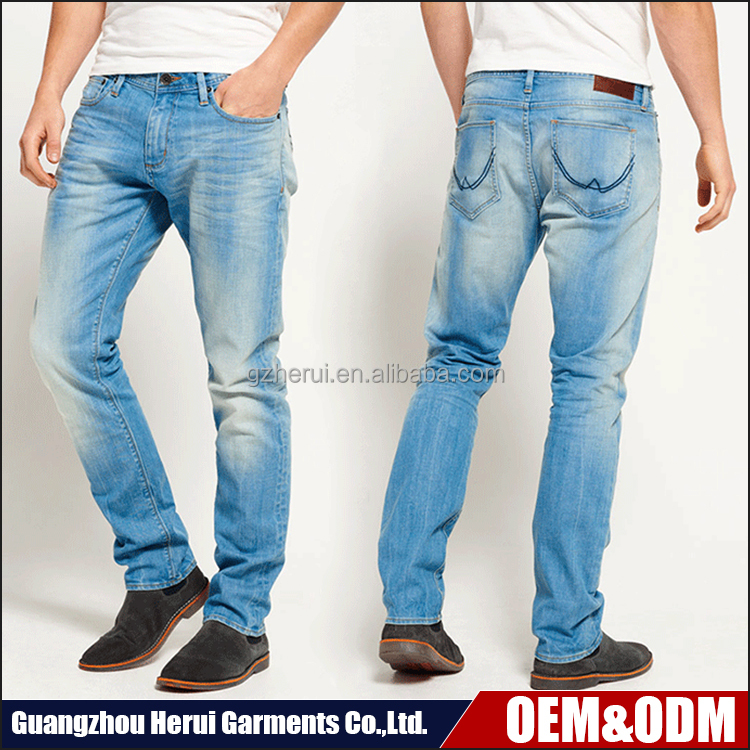 High Quality Custom Elastic Men Denim Jeans Trousers China Wholesale Price Blue Casual Cotton Skinny Jeans Pant