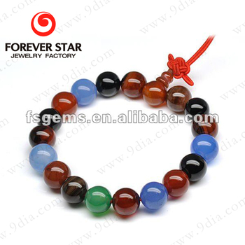 Wholesale Characteristic 10mm big Ball Multicolor Agate Bead Bracelet