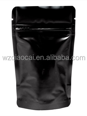 black ziplock pouch tear notches cookie fruit spice plastic packaging bag