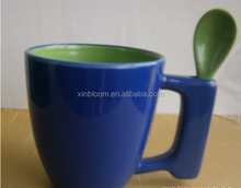 creative fashion simple mluti-color different shape ceramic coffee mug with inserting spoon