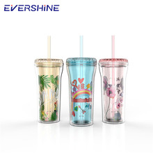China import direct heat resistance 16oz plastic drinking cup with straw and handle