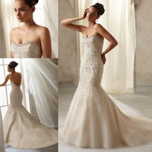 WD2959 Strapless sleeveless sweetheart neckline pearl diamond mermaid/trumpet heavy beaded champagne wedding dress