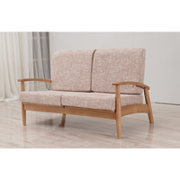 European fabric and wood 2 seat living room sofa