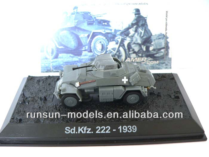 Hot Sale 1:72 scale German SD KFZ 222-WWII 1939 die cast toy model tank model for collection