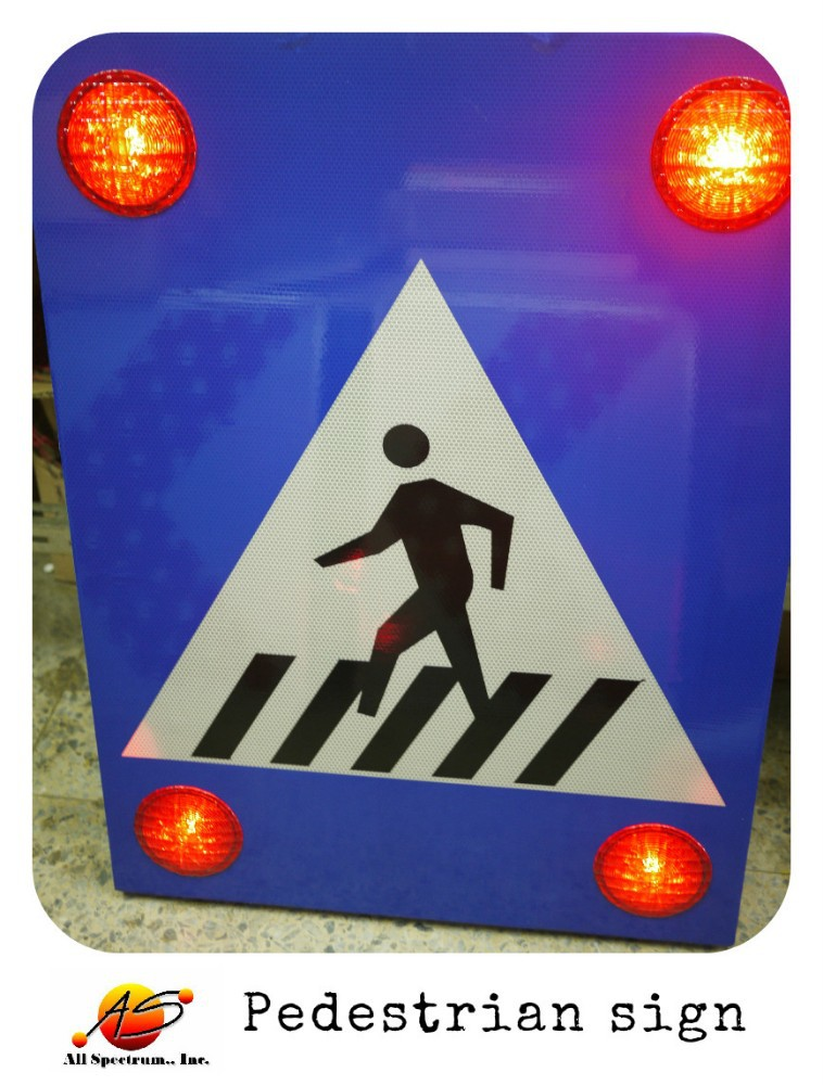outdoor lighted sign Illuminated flashing Pedestrian Crosswalk sign