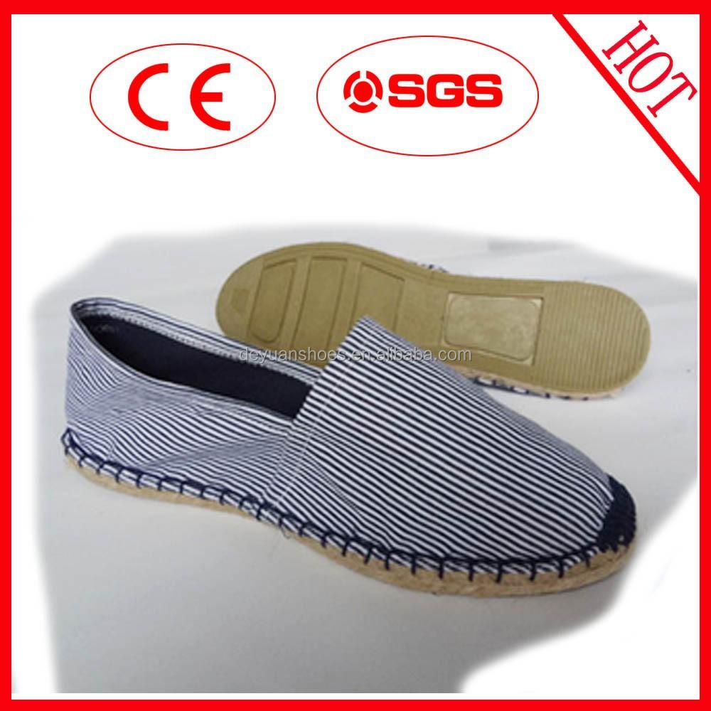 Comercio al por mayor de alta evaluación al por mayor raya clásica zapatos de yute/
