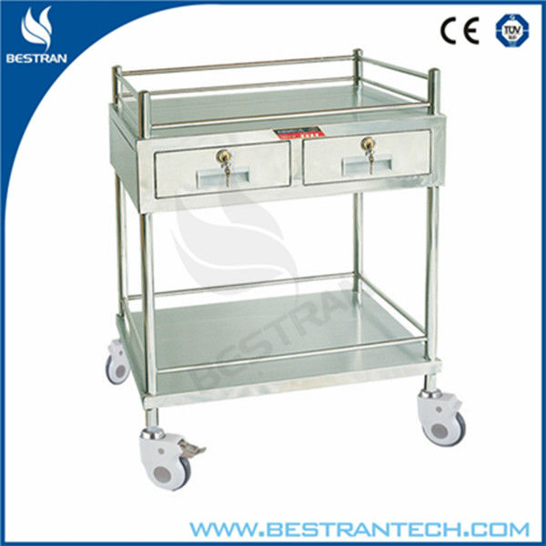 BT-SIT006 hospital 304 stainless steel hospital cart two drawer storage drawers cart