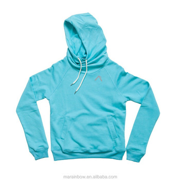 Teal Cotton French Terry Womens Layered Hoodie Gym Hoodie Fitness Clothing Tracksuit Top Raglan Long Sleeve Pullover Hoodie