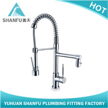 Pull Out Brass Chrome Kitchen Faucet Sink Spring Spray Mixer Tap