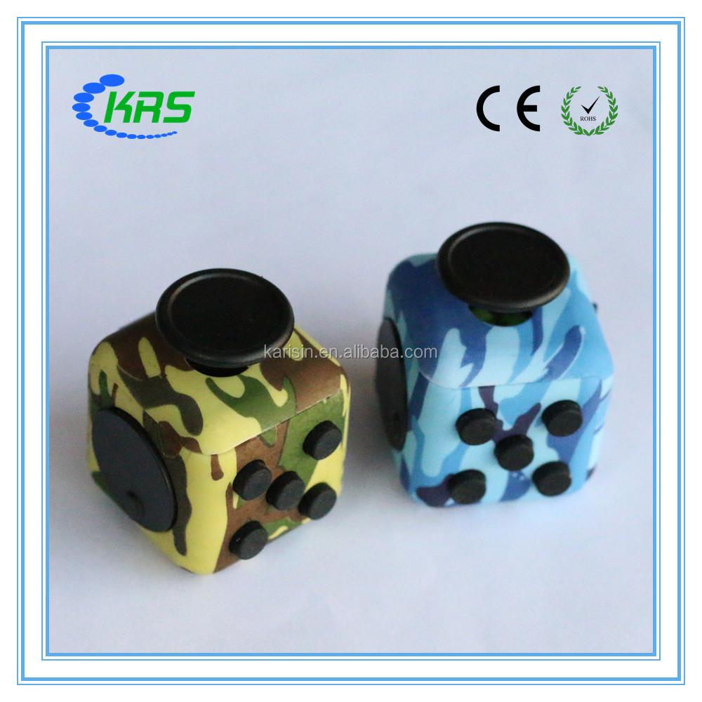 Karisin New and high quality camouflage fidget toy anti stress cube dropshipping with black silicone button