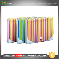 hot selling stripe pattern cheap portfolio with elastic