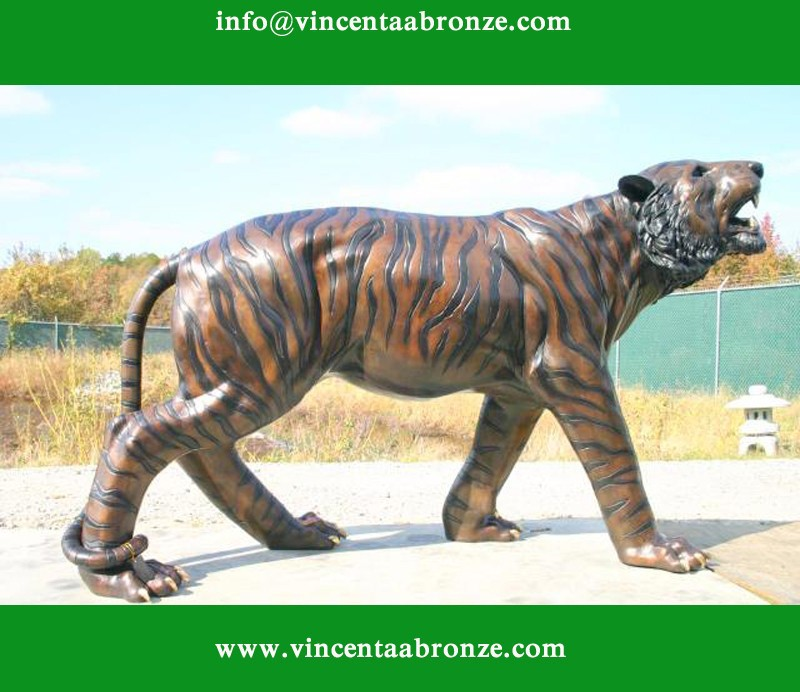 Life size outdoor bronze tiger statue for sale