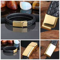 2016 New Design China direct factory price fashion stainless steel clasp bio magnetic mens leather bracelet