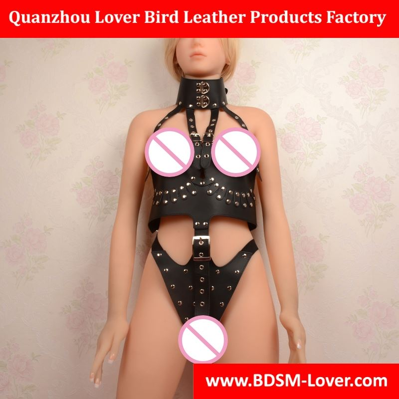 PU leather and stainless steel bondage kit for couple cosplay,tight nipple dress erotic lingerie G string,sexy toys,sex product