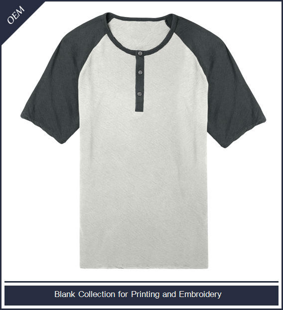 Cotton blank henley tshirt with short raglan sleeves