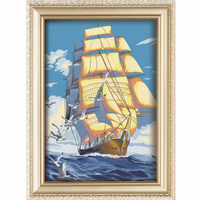 Popular style ail boat design acrylic paint by number for wholesale
