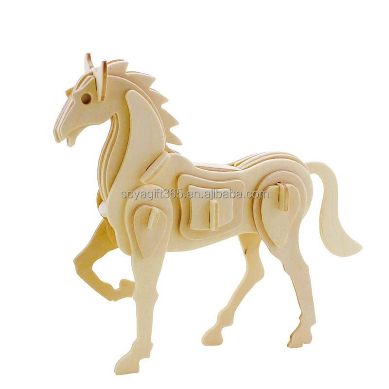 Children Gift Horse 3d Wooden Stereo Jigsaw Puzzle Simulation Model Toys