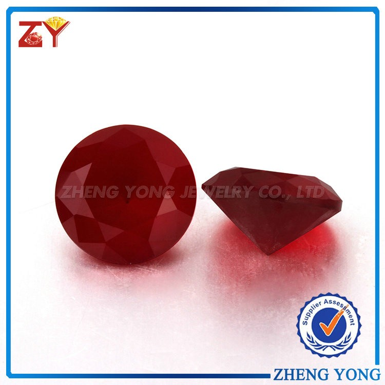Round brilliant cut synthetic red frosted glass beads
