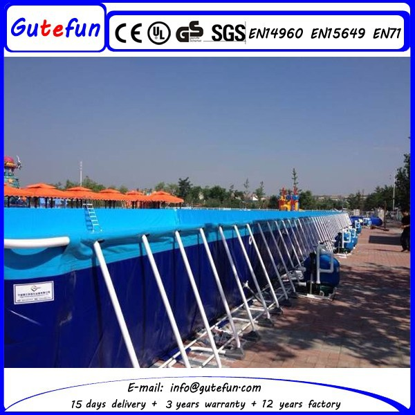 2015 hot sale portable rectangular above ground metal frame outdoor swimming pool for kids