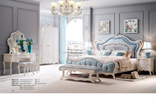 French classic style royal home use furniture antique wooden bedroom set