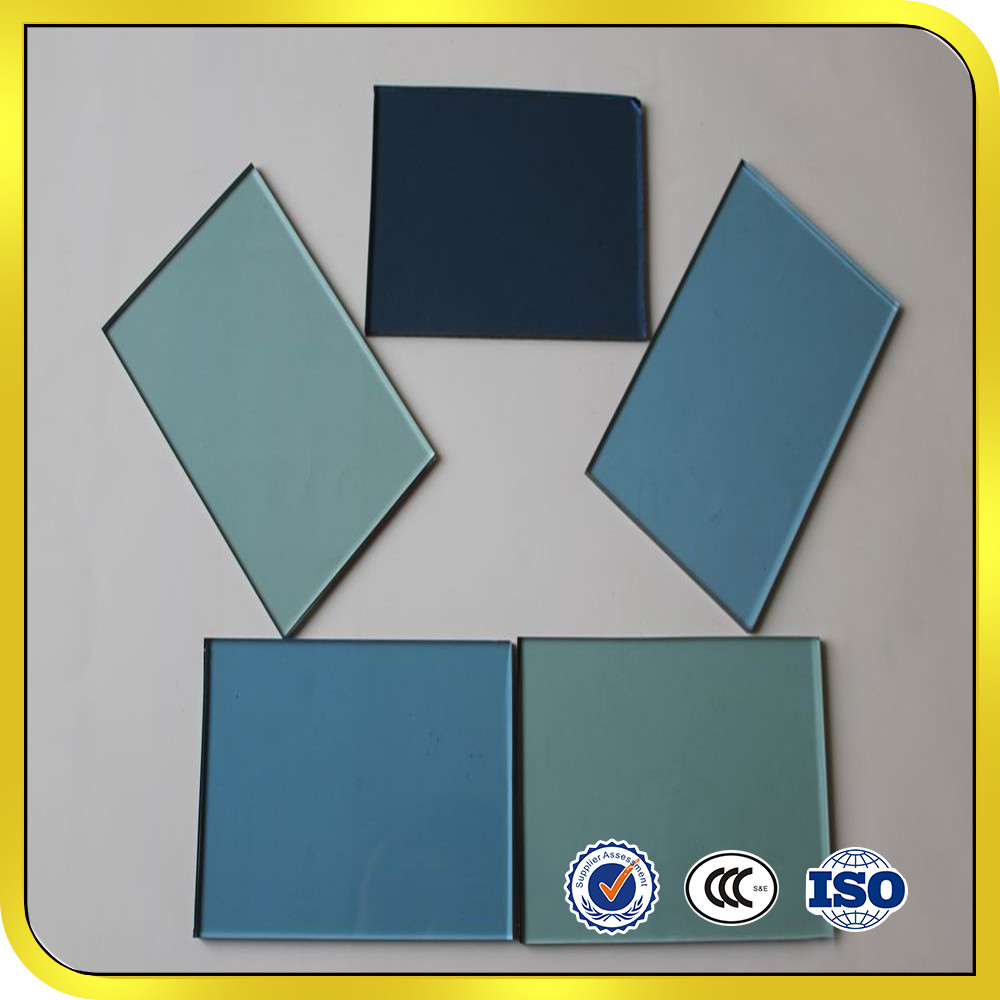 Qinhuangdao reflective tempered glass 3mm 4mm 5mm 6mm 8mm 10mm 12mm Geen Silver grey Bronze Blue coated tempered glass factory