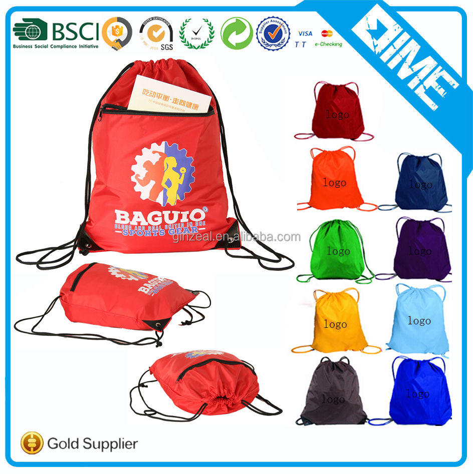 Custom Design 600d Polyester Drawstring Shoe Bags With Front Zipper Pocket