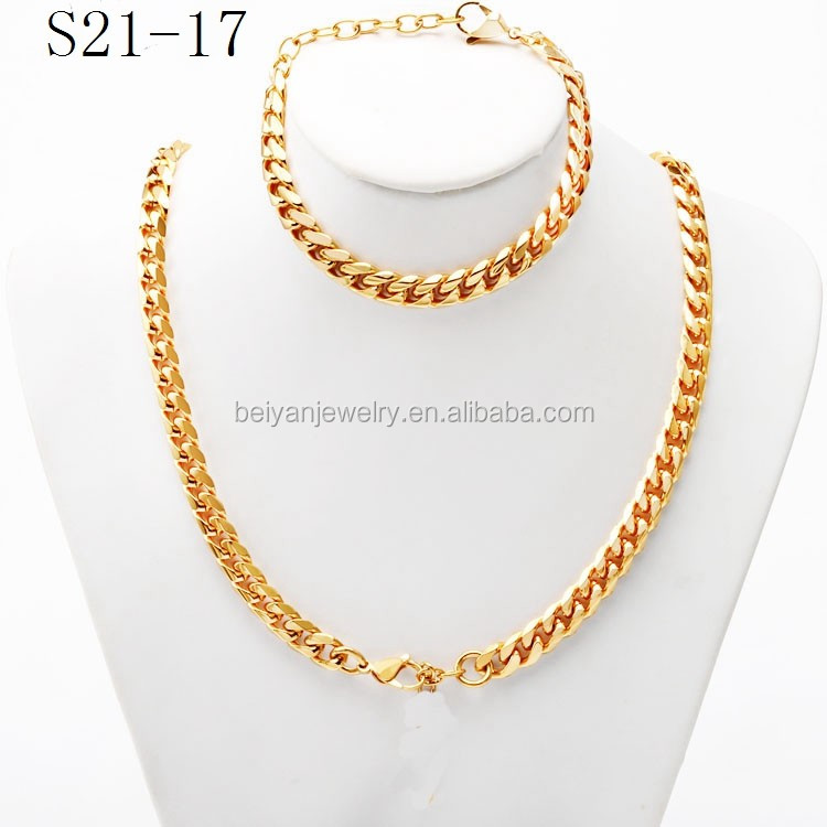 stainless steel cool gold cuban link designs jewelry men sets