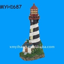 New fashion polyresin solar powered lighthouse figurine