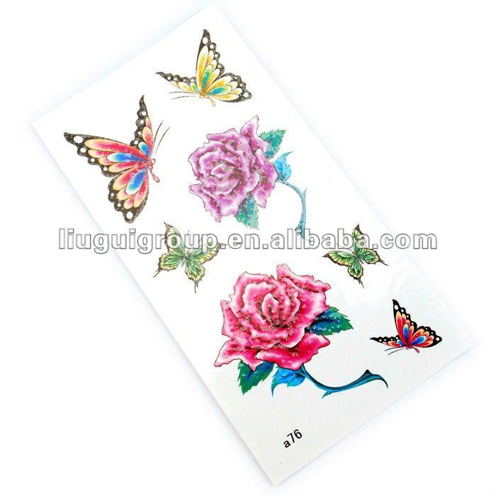 HOT butterfly and flower water transfer tattoo sticker for gift