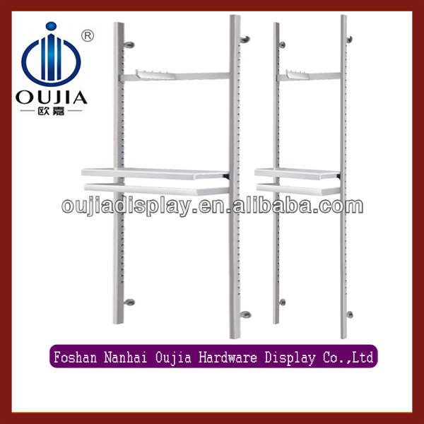 new design stainless steel wall mount shelf system/clothing display system