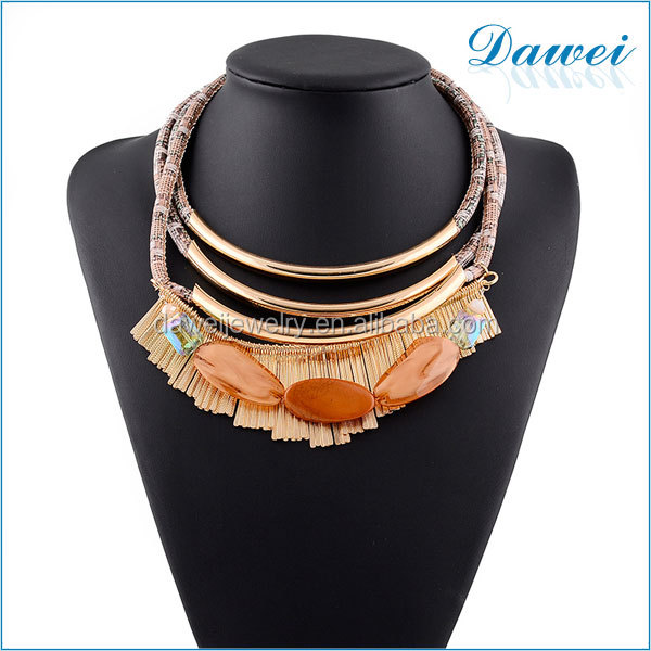Fashion Multi Layers Amber Chain Statement Necklace Vintage Brand Ladies Necklaces