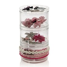 Factory Wholesale Cheap Acrylic 3 Stackable Hair Accessory Containers with 3 Removable Lids Executive Desk Storage Organizers