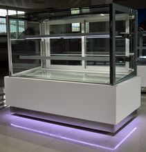 Selectable LED Color Transparent Standing Display Refrigerator Showcase