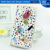 Special Design Wallet Case With Diamond For Samsung S5 i9600, With Card Holder Silicone Case For Galaxy S5 i9600