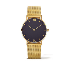 Simple design japan movt stainless steel black gold custom logo face watch women wrist watches with mesh band