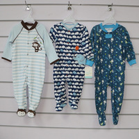 100% cotton plain and full print baby footie romper with animal patch and embroidery by snap opening or zipper opening