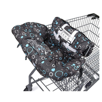 5 ponits harness system, 130 g cotton padded black with color circle shopping cart cover
