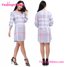 New Style Women Shummer Plaid Design Casual Fashion Dress