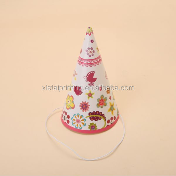Landward Custom Baby Girl Lovely Children Printed Paper Cone Party Hat