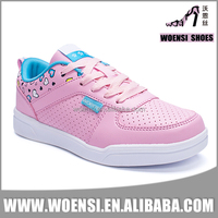 latest design elegant young ladies PU upper cemented low price skateboard shoes