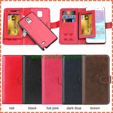 2 in 1 Detachable leather wallet flip case for Samsung galaxy note4 with card slots