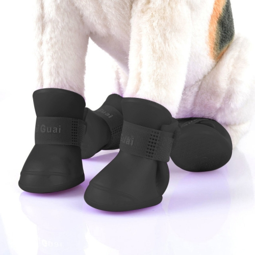 Lovely pet product cat Dog Shoes Puppy Candy Color Rubber Boots Waterproof Rain Shoes, L, Size: 5.7 x 4.7cm(Black)
